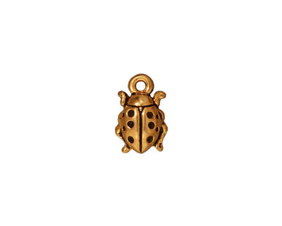 TierraCast Antique Gold (plated) Lady Bug Charm 8x13mm