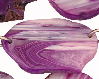 Purple Line Agate w/Rings Natural Edge Freeform Faceted Slab 28-40x22-40mm