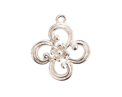 Nunn Design Sterling Silver (plated) Fanciful Flower Petal Charm 22x25mm