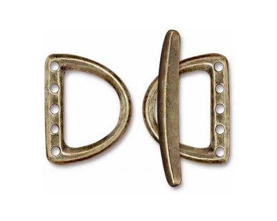 TierraCast Antique Brass (plated) Large 5 Hole D Ring Clasp Set 19x24mm, 34mm bar