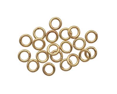 Satin Hamilton Gold (plated) Soldered Jump Ring 4mm, 18 gauge