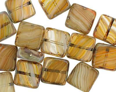 Czech Glass Beach Sands Square 10mm