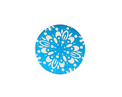 Lillypilly Turquoise Kaleidoscope Anodized Aluminum Disc 19mm, 24 gauge
