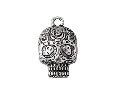 Zola Elements Antique Silver Finish Dia de los Muertos Sugar Skull Pendant 15x25mm