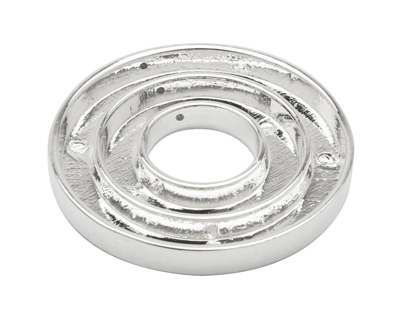Silver (plated) Open Smooth Round (2 channel, 3 hole) Katiedids 35mm