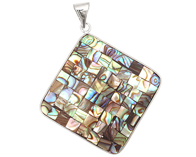 Abalone Mosaic 2-Sided Wrapped w/ Bail Diamond Pendant 47x59mm