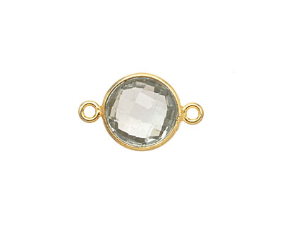 Prasiolite Faceted Coin Link in Gold Vermeil 17x11mm