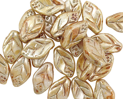 Czech Glass Luster Pistachio Leaf Drop 8x12mm