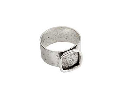 Nunn Design Antique Silver (plated) Small Square Frame Adjustable Ring 13mm
