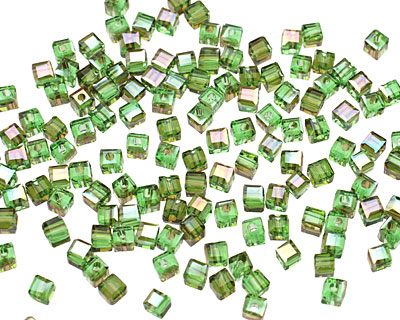 Bottle Green AB Crystal Faceted Cube 2mm