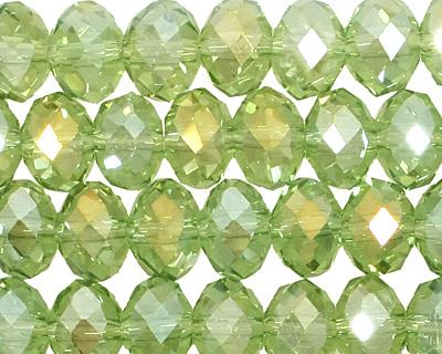 Light Olivine AB Crystal Faceted Rondelle 8mm