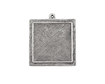 Nunn Design Antique Silver (plated) Raised Square Pendant 30x33mm