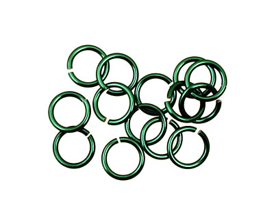 Green Anodized Aluminum Jump Ring (Saw Cut) 6mm, 20 gauge (4.1mm inside diameter)