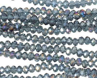 Montana Blue Peacock Crystal Faceted Rondelle 4mm