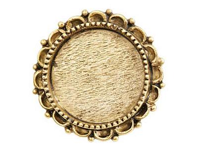 Nunn Design Antique Gold (plated) Large Ornate Circle Screw Back Bezel 30mm