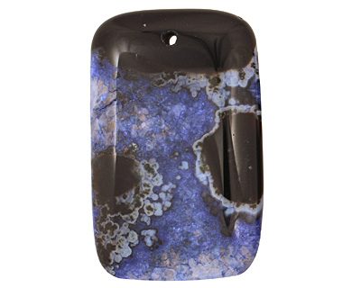 Black & Blue Agate Rectangle Pendant 35x55mm