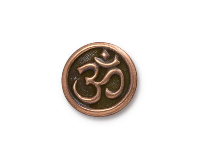 TierraCast Antique Copper (plated) Om Button 17mm