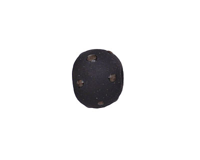 Gaea Ceramic Black Polka Dot on Black Round Bead 10-12mm