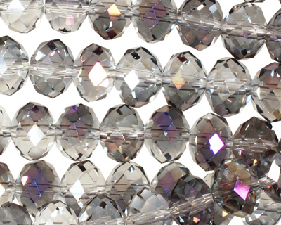 Purple & Clear AB Crystal Faceted Rondelle 10mm