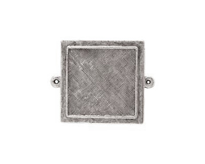 Nunn Design Antique Silver (plated) Raised Bezel Small Square Link 37x29mm