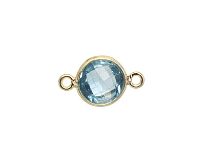Blue Topaz Faceted Coin Link in Gold Vermeil 16x10mm