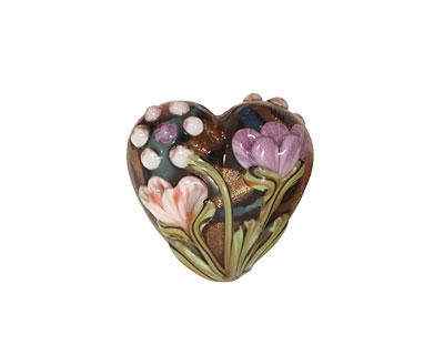 Grace Lampwork Light Pink w/ Purple Floral Heart 19-20mm