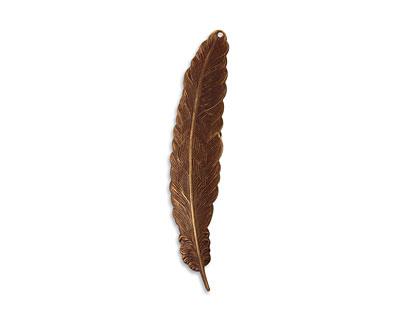 Vintaj Natural Brass Tall Feather 18x88mm