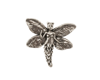 Green Girl Pewter Fairy Button 23x21mm