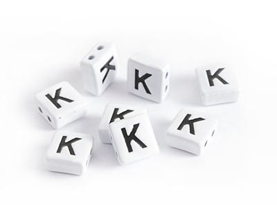 "White Enamel 2-Hole Tile Square Bead w/ Letter ""K"" 8mm"
