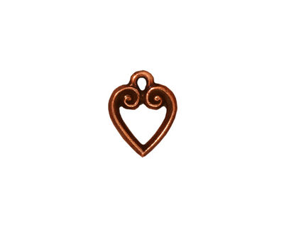 TierraCast Antique Copper (plated) Heart Charm 10x13mm