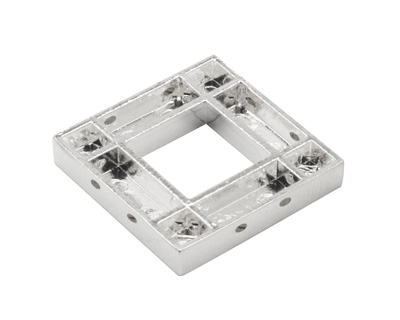 Silver (plated) Smooth Square (1 channel, 8 hole) Katiedids 24.3mm
