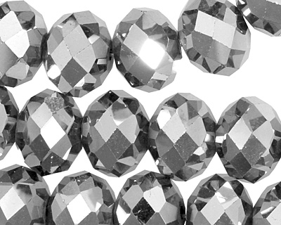 Metallic Silver Crystal Faceted Rondelle 14mm