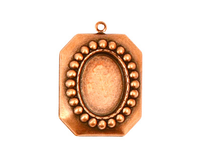 Stampt Antique Copper (plated) Nouveau Beaded Frame Oval Setting 10x14mm