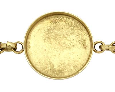 Brass Circle Bezel Link Bracelet 27mm