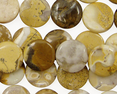 Yellow Conglomerate Jasper Puff Coin 12mm