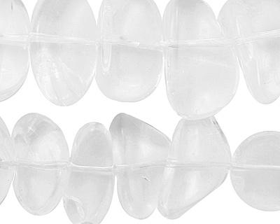 Rock Crystal Flat Polished Pebble 10-14x11-23mm