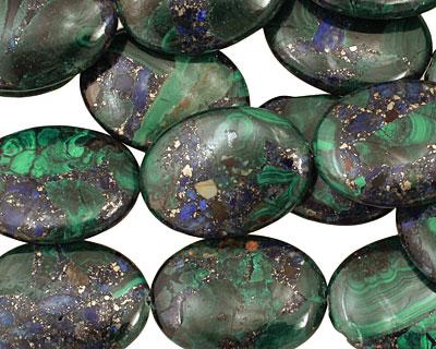 Azurite Malachite Flat Oval 30x22mm