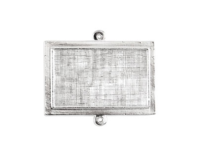 Nunn Design Sterling Silver (plated) Horizontal Raised Rectangle Pendant Link 36x31mm