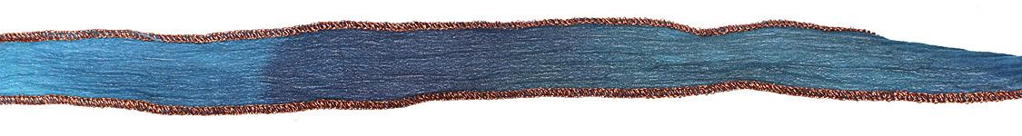 Blue Me Away Hand Dyed 100% Silk Ribbon 1/2