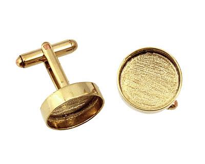 Brass Circle Bezel Cuff Link 17mm