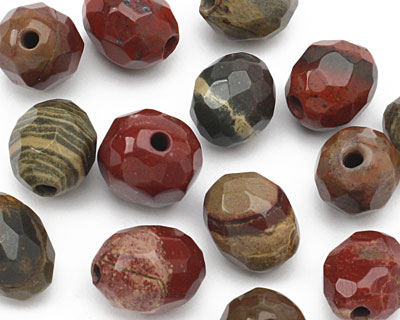 Apple Jasper Faceted Nugget (Large Hole) 14-16x10-12mm