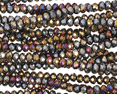 Metallic Peacock Hematite Crystal Faceted Rondelle 3mm