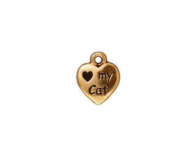 TierraCast Antique Gold (plated) Love My Cat Charm 10x12mm