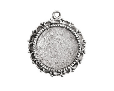 Nunn Design Antique Silver (plated) Large Ornate Circle Bezel Pendant 30x32mm