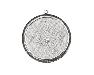 Nunn Design Sterling Silver (plated) Large Raised Circle Pendant 38x40mm
