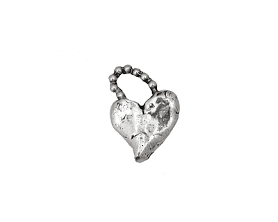 Rustic Charms Sterling Silver Beaded Heart Charm 11x16mm