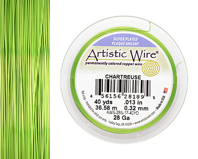 Artistic Wire Silver Plated Chartreuse 28 gauge, 40 yards