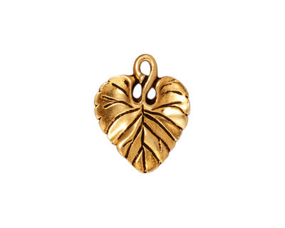 TierraCast Antique Gold (plated) Violet Leaf Charm 15x18mm