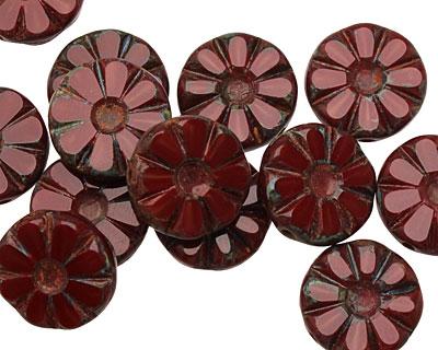 Czech Glass Pomegranate Flower Window Coin 12mm