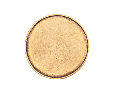 Nunn Design Antique Gold (plated) Crest Grande Circle Tag 31mm